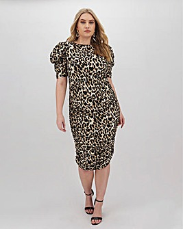 AX Paris Ruched Leapord Print Bodycon