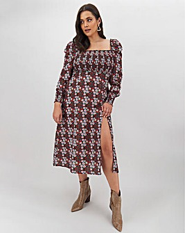 AX Paris Printed Ruched Top Midi Dress