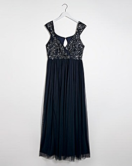 Maya Curve Embellished Wrap Maxi Dress