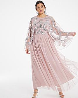 Maya Curve Embellished Cape Maxi Dress