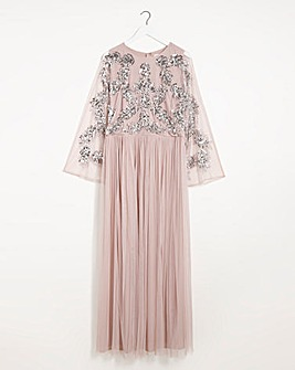 Maya Curve Embellished Cape Maxi Dress