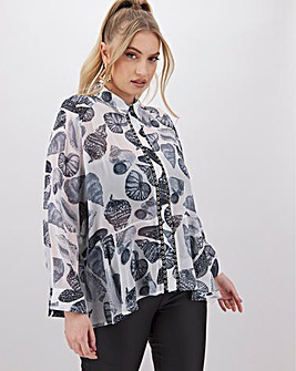 Religion Shell Print Button Blouse