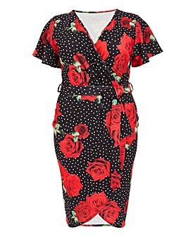 Quiz Curve Floral Polka Dot Midi Dress