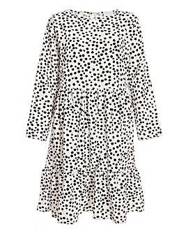 Quiz Curve Polka Dot Woven Tiered Dress