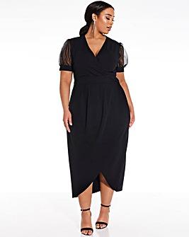 Quiz Curve Puff Sleeve Wrap Dress