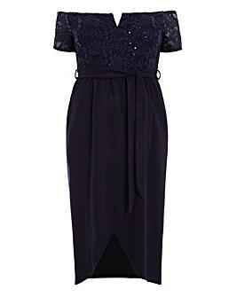 Quiz Curve Glitter Lace Bardot Dress
