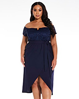 Quiz Curve Glitter Lace Bardot Dress