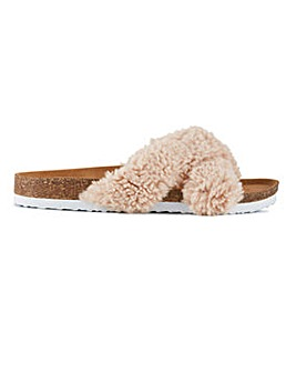 Natalie Cross Front Fluffy Slippers Wide Fit