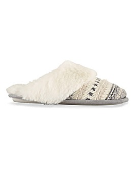 Lisa Knitted Mule Slippers Wide Fit