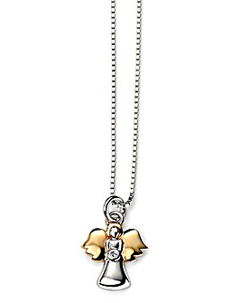 D for Diamond Guardian Angel Necklace