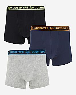 Hype 3 Pack Black Multi Boxer Shorts