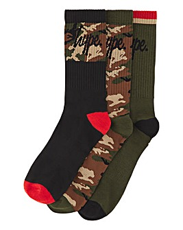 Hype Camo 3 Pack Socks