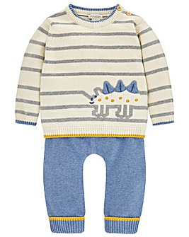 Monsoon Nb Stripe Dino Knitted Set
