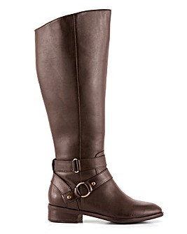 Amaranth Leather High Knee Boots Extra Wide Fit Standard Calf