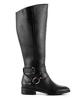 Amaranth Leather High Knee Boots Wide Fit Curvy Calf