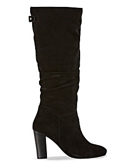 Bay Suede Knee High Boots Extra Wide Fit Super Curvy Calf