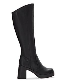 Bramwell Platform Knee High Boots Wide Fit Super Curvy Calf