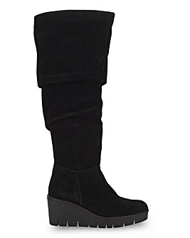 Cerise Wedge Over KneeBoots Wide Fit Curvy Calf