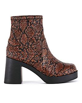 Florian Block Heel Platform Boots Extra Wide Fit