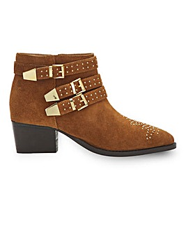 Forsythia Suede Buckle Ankle Boots Extra Wide Fit