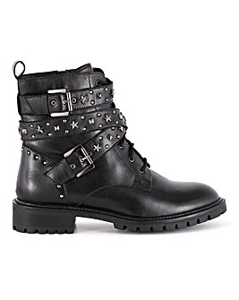 Talulah Leather Biker Ankle Boots Extra Wide Fit