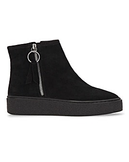 Petal Suede Zip Up Ankle Boots Wide Fit