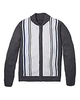 Premier Man Grey Jacquard Zip Through Cardigan