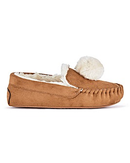 Portia Pom Pom Slippers Ex Wide Fit