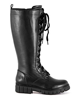 Bambina Leather Chunky Lace Up Boots Wide Fit