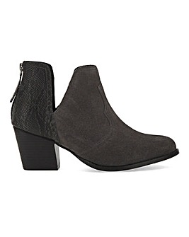 Suede Heeled Ankle Boots Extra Wide Fit