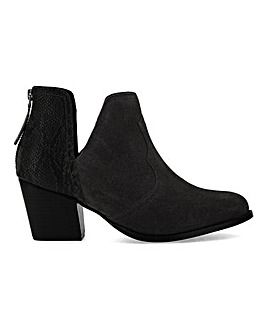 Cloudy Suede Heeled Ankle Boots Extra Wide Fit