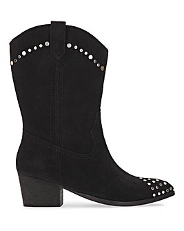 Azra Suede Western Boots Extra Wide Fit