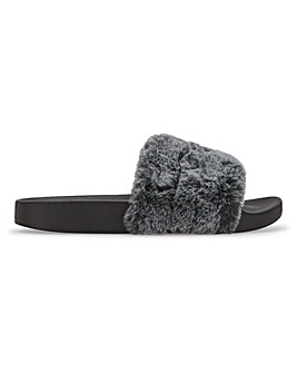 Meltham Fur Slipper Sliders Extra Wide Fit