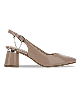 Tadley Slingback Cone Heel Shoes Extra Wide Fit