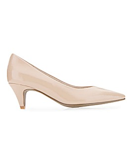 Rayleigh Heeled Patent Classic Court Shoes Extra Wide Fit