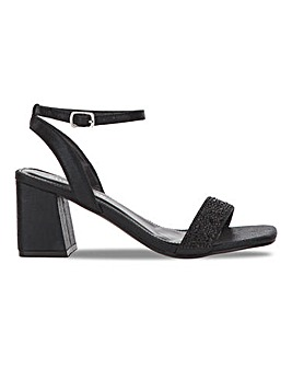 Tully Block Heeled Diamante Sandals Extra Wide Fit