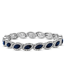 Blue crystal navette silver stretch bracelet