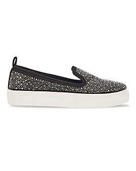 Albie Diamante Studded Slip On shoes Extra Wide Fit