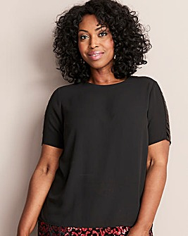 Black Sequin Trim Detail Blouse