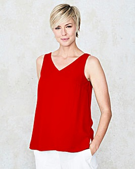 Red Built Up Strappy Cami Top
