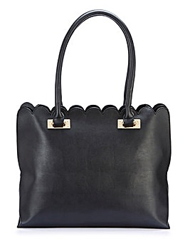 Scalloped Edge Black Shopper Bag