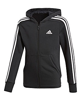 adidas Youth Girl 3 Stripe Hoodie