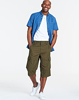 Khaki Three Quarter Cargo Shorts