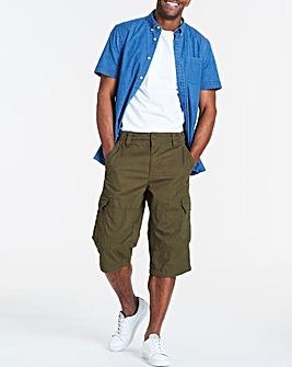 Khaki Three Quarter Cargo Shorts