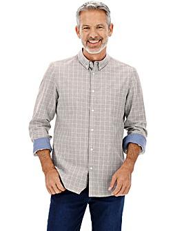 Grey Marl Long Sleeve Check Shirt