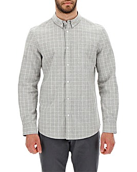 Grey Marl Long Sleeve Check Shirt