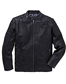 Black Leather Biker Style Jacket Regular