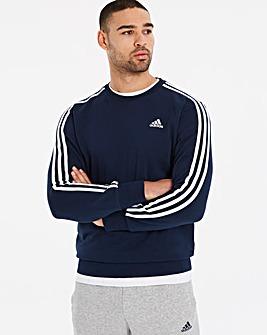 adidas Essential 3 Stripe Crewneck Hoody