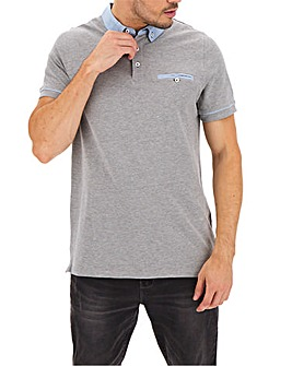 Chambray Collar Polo Shirt Long