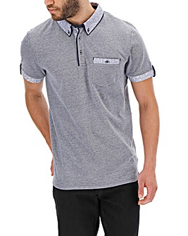 Contrast Collar Polo Shirt Long